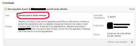 Fig. 2 - Se il contenuto non rispetta gli standard di Facebook, verrà rimosso dopo essere stato vagliato.