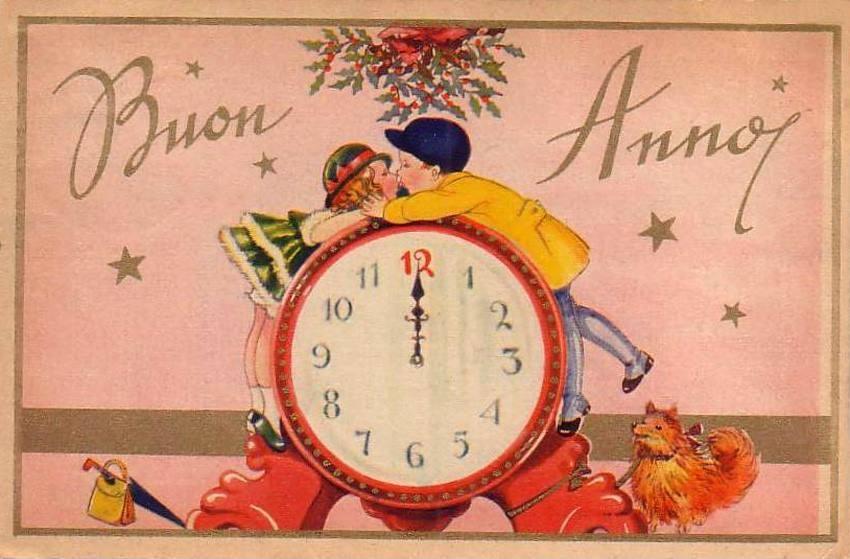 cartolina d'epoca auguri di fine anno