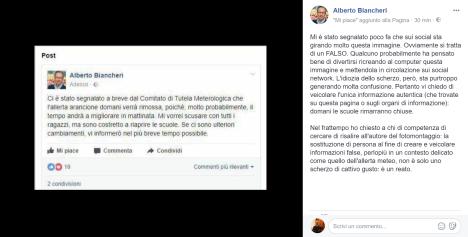 screenshot post fake alberto biancheri