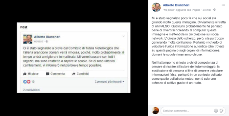 screenshot post fake alberto biancheri