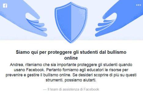 immagine facebook cyberbullismo