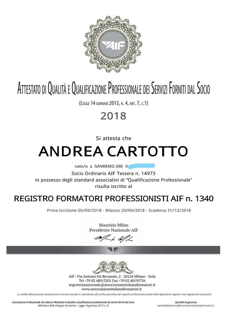Iscrizione Cartotto Registro Formatori Professionisti